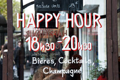 Happy hour bar. An happy hour bar in Paris, France Stock Images