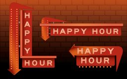 Happy Hour Bar Signs. With neon and lights Stock Image