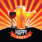 Happy hour burst design Stock Images