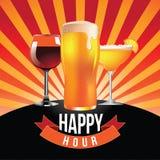 Happy hour burst design Stock Images