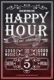 Happy hour Cartaz bonito do cartão, texto dourado da caligrafia com caneca de cerveja e rotulação ilustração do vetor