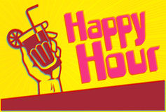 Happy Hour Cocktail Party Flyer Template with Glass in hand Royalty Free Stock Image