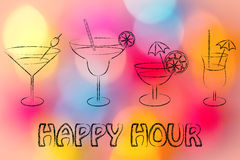 Happy hour: cocktails and drink glasses. Happy hour, different style of drink glasses with straws, coktail umbrellas and lemon slices Stock Photos