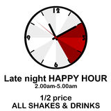 Happy hour concept with clock for pubs or clubs Royalty Free Stock Images