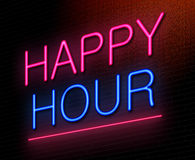 Happy hour concept. Illustration depicting an illuminated neon sign with a happy hour concept Stock Photo
