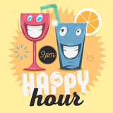 Happy Hour. Cool Funny Cartoon Illustration Of Smiling Glass Cha Royalty Free Stock Photo