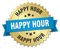 Happy hour 3d gold badge. With blue ribbon Stock Images
