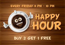Happy Hour Design Template. Happy Hour. Vintage vector illustration with lettering and cute cheerful coffee cup on wooden background stock illustration