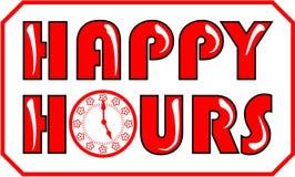 Happy hour di insegna nel colore rosso illustrazione vettoriale