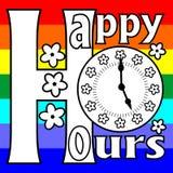 Happy hour di tabellone per le affissioni su un fondo dell'arcobaleno royalty illustrazione gratis