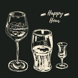 Happy hour drinks set. Vector illustration, chalk on blackboard style. Wine glass with a cocktail, beer glass, grappa royalty free illustration