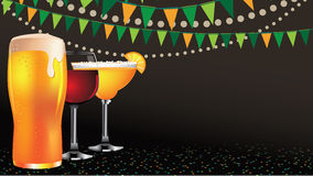 Happy hour drinks widescreen background Royalty Free Stock Photo