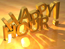 Happy hour gold text stock photo