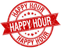Happy hour grunge retro red isolated stamp. Happy hour grunge retro red isolated ribbon stamp stock illustration
