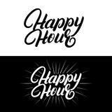 Happy hour hand written lettering. Modern brush calligraphy. Isolated on background. Vector illustration stock illustration