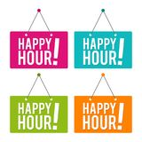 Happy hour hanging Door Sign. Eps10 Vector. Happy hour hanging Door Sign. Eps10 Vector illustration Royalty Free Stock Images