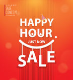 Happy hour heading design for banner or poster. Sale and discoun. Ts. Vector illustration vector illustration