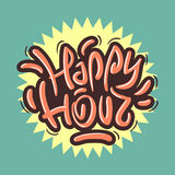 Happy Hour Label Sign Design Funny Cool Brush Lettering Graffiti Royalty Free Stock Photos