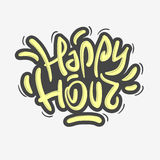 Happy Hour Label Sign Design Funny Cool Brush Lettering Graffiti Royalty Free Stock Image