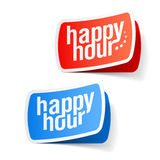 Happy hour labels. Vector illustration of happy hour labels royalty free illustration