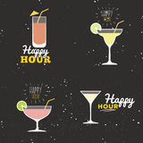 Happy hour labels Royalty Free Stock Images