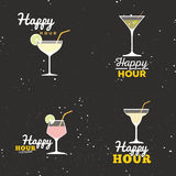 Happy hour labels Royalty Free Stock Photos