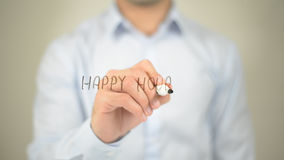 Happy Hour , man writing on transparent screen. High quality Stock Photo