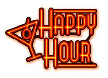 Happy Hour Neon with Cocktail Glass. Happy Hour Neon Sign with Cocktail Martini Glass red on white background isolated stock illustration