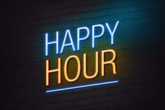 Happy hour neon sign Royalty Free Stock Photos