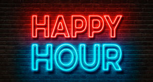 Happy Hour. Neon sign on a brick wall - Happy Hour Stock Photos