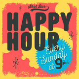 Happy Hour New Age 50s Vintage Label Poster Sign Design For Prom Royalty Free Stock Photos