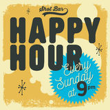 Happy Hour New Age 50s Vintage Label Poster Sign Design For Prom Royalty Free Stock Photo
