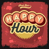 Happy Hour New Age 50s Vintage Label Poster Sign Design With Ret Stock Photos