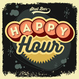 Happy Hour New Age 50s Vintage Label Poster Sign Design With Ret Stock Images