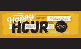 Happy Hour New Age Vintage Typographic Poster Header Web Banner Royalty Free Stock Images