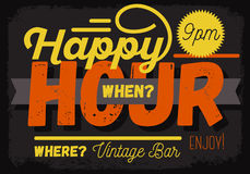 Happy Hour. New Vintage Headline Sign Design With A Banner Ribbon For Text. Vector Graphic. royalty free illustration