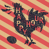 Happy Hour New Vintage Label With Crowing Rooster Drawing.. Decorated Ornamental Silhouette Design. Custom Type Treatment. Vector Graphic Stock Image