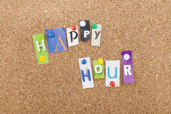 Happy Hour. Note pinned bulletin board Stock Photo