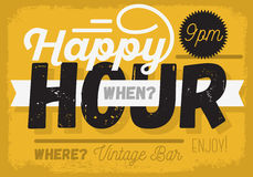 Happy hour Nuova progettazione d'annata del segno del titolo Immagini Stock