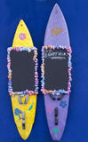 Happy Hour, offer on surfboards. Blackboard to label Stock Photo