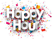 Happy hour paper background. Happy hour paper background with color confetti. Vector illustration Royalty Free Stock Photography
