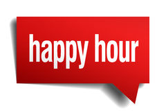 Happy hour red paper speech bubble Royalty Free Stock Photos