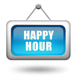 Happy hour sign. On white background Stock Images