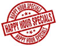 Happy hour specials round red stamp. Happy hour specials round red grunge stamp vector illustration