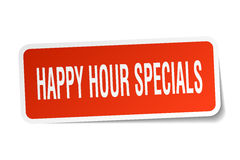 Happy hour specials square sticker. On white Stock Photography
