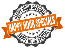 Happy hour specials stamp. Sign. seal Stock Image