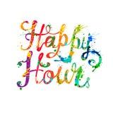 Happy hour. Splash paint. Lettering. Vector inscription Vector Illustration