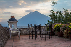 Happy Hour Spot on a rooftop at Lake Atitlan Guatemala. A great patio to relax and take in the view of the Volcanos on Lake Atitlan Guatemala Royalty Free Stock Photos