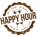 Happy hour stamp EPS 10 vector Royalty Free Stock Photos