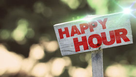 Happy Hour. Text on wooden sign Stock Photography